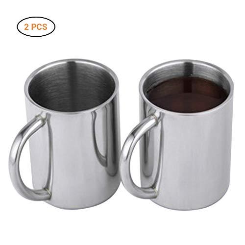Comtervi Kaffeetasse 220 ml, 2er Set, Gesunder BPA-Freier Kaffeebecher Kaffeetasse aus Edelstahl, Spülmaschinengeeignet