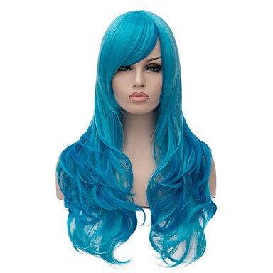 HJL-longs ondul¨¦s couleur bleu cheveux cosplay perruque synth¨¦tique de qualit¨¦ sup¨¦rieure , blue