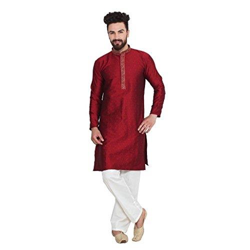 Ruchi Mart Indische traditionelle Herrenbekleidung Kultur Maroon Kurta Pajama Kunst Seide Bekleidung (Indische Herrenbekleidung)