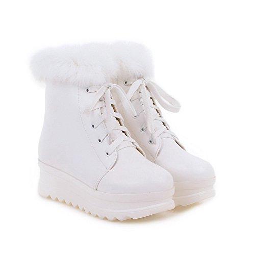 AgooLar Damen Niedrig-Spitze Schnüren Mittler Absatz Rund Zehe Stiefel mit Knoten Weiß
