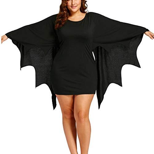 Halloween Kostüm Damen Große Größen Fledermaus Kleider Mini Sexy Column Einteiler Einfarbiges Partykleider Karneval Party Maskerade Mottoparty (XL, - Zombie Batman Kostüm Maske