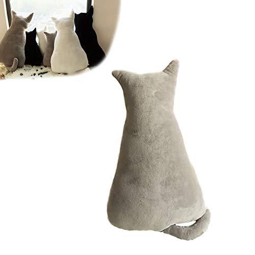 1 cojín divertido con forma de gato, cojín de animales de peluche para mascotas, sofá, silla, almohadas de felpa suave, juguetes para decoración del hogar, regalos para niños (gris, 11.8 pulgadas)
