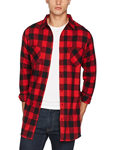 Urban Classics Herren Freizeithemd Side-Zip Long Checked Flanell Shirt, Mehrfarbig (Blk/Red 00044), XX-Large (Hemd Flanell Karo)