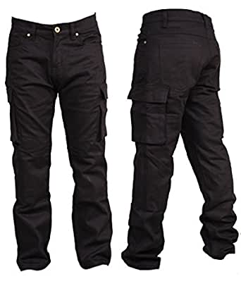 herren schwarze cargo kevlar linned radfahrer motorrad jeans und hosen mit schutz set free 38. Black Bedroom Furniture Sets. Home Design Ideas
