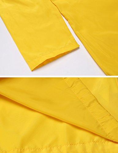Meaneor Damen Übergangsjacke Regenjacke Kapuzenjacke Windbreaker Wasserdicht Jacke Herbst Leicht mit Taschen Gelb