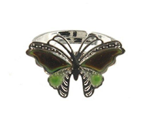 Magische Stimmung Ring Mit Schmetterling-Symbol-Stimmungsring äNdert Sich Die Farbe Auf Die Stimmung Geschenkidee MäDchen Je Verstellbare Passform Jungs (Stimmung Ring Und Halskette)