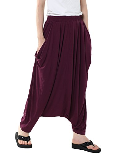 MatchLife, pantaloni da donna, larghi, in tinta unita M003-Purple