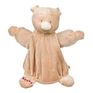 Noukies - Marionnette NOUKY ours marron - Doudou 22 cm - Peluche bébé marron rouge