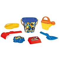 Wader 76342 Transformers Set with Bucket, Strainer, Water jug, Shovel, rake and 2 Sand Moulds, 7 Pieces, Colourful