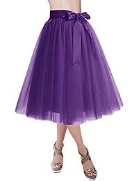 Dresstells®Falda Corta Tul Mujer Midi Cintura Elástica Con Lazo Para Fiesta Danza