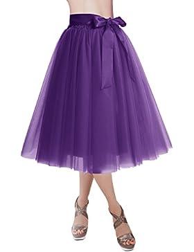 Dresstells reg;Falda Corta Tul Mujer Midi Cintura Elástica con Lazo para Fiesta Danza