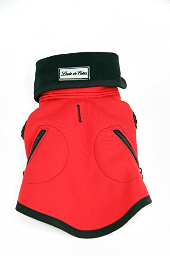 Louie de Coton Sportlich Wasserabweisend Winddicht und Atmungsaktiv Soft Shell Kleiner Hund Weste Limited Edition Made in USA by, X-Small, Rot