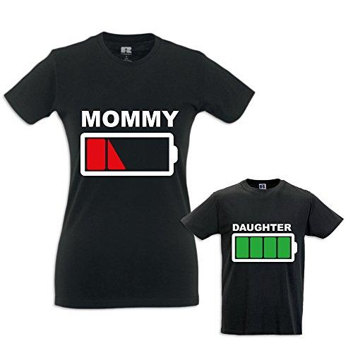 Coppia di T-Shirt Magliette Mamma E Figlio Idea Regalo Festa Della Mamma Battery Mom T-Shirt Nere Mamma e Femminuccia