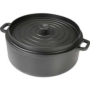 Invicta - 30232 noir - Cocotte ronde en fonte émaillée 32cm noire Mijoteuse
