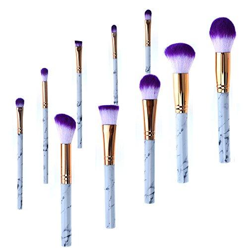 AKAAYUKO 10PCS Kit de Pinceau Maquillage Professionnel Blush Pinceau Poudre Brush Fard à paupières Sourcils -Violet noir