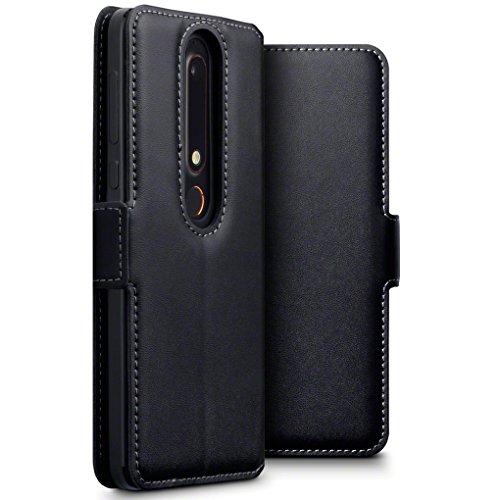 TERRAPIN, Kompatibel mit Nokia 6 2018 / Nokia 6.1 Hülle, ECHT Leder Börsen Tasche - Ultra Slim Fit - Betrachtungsstand - Kartenschlitze - Schwarz EINWEG