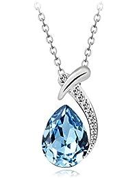 bdb987dd59c7 T400 Collar para Mujer Gota de Agua Colgante Hecho con Cristal de Swarovski  Elements Azul-