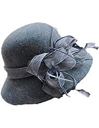 Fuxitoggo Las señoras de Moda otoño Invierno Flores Sombrero de Plumas  Elegante Retro Sombrero de Pescador 2f16083dc8a