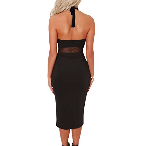 PU&PU Femmes Occasionnels / Aller Halter Hollow Out sans manches Open Back Patchwork Robe Midi, High Wasit Black