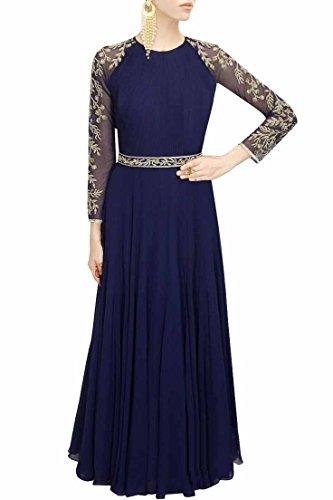 Sunshine Fashion Women's Georgette Empire Lehenga Choli (Sung029_Blue_Free Size)