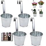 esto24® 4er Set Hängetopf Pflanztopf Übertopf mit Haken Silber Zink Blumentopf Vase Balkon Garten