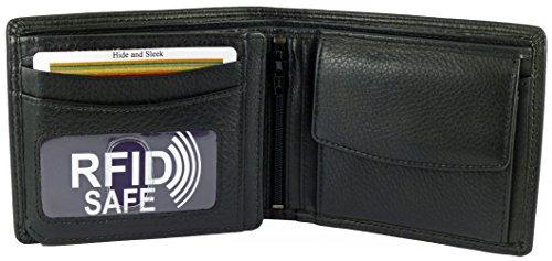 Hochwertige Designer-Brieftasche aus Leder für Herren, mit RFID-Abschirmung, für Banknoten, Münzen, 7Kreditkarten und mit ID-Fenster,mit Geschenkverpackung schwarz schwarz