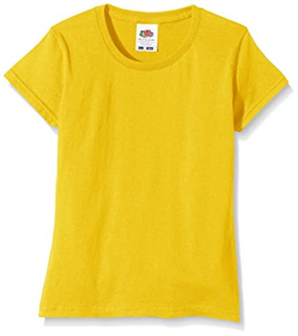 Fruit of the Loom SS125B, T-Shirt Fille, Jaune-Yellow (Sunflower Yellow), 10-11 Ans