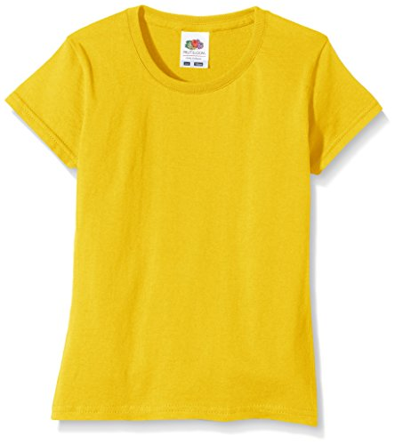 Fruit of the Loom Mädchen T-Shirt SS125B, Yellow (Sunflower Yellow), 3-4 Jahre (Surf-gelb T-shirt)