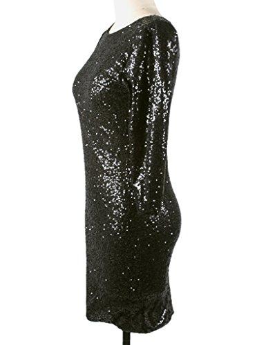 YR.Lover Pailletten Verziert Backless Ausgestattet Rückseite Reißverschluss Minikleid - 5