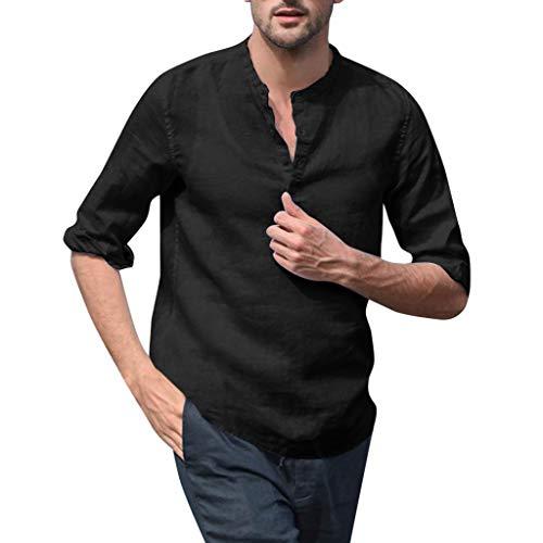 Dior Herren Jeans (Xmiral Herren Lange Ärmel Hemden Atmungsaktiv Einfarbig Dünn T-Shirt Bluse Stehkragen V-Kragen Lose Sweatshirt Komfort Sportshirt(a Schwarz,M))