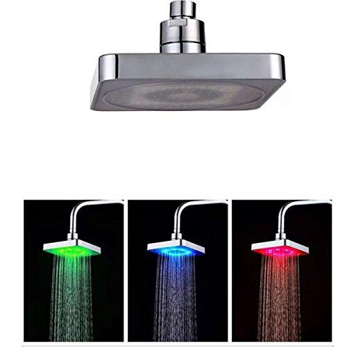 LED-Duschkopf, quadratisch, Badezimmer Duschkopf Multicolor Glow Light Dusche Head einfach zu installieren Duschkopf-timer-abschaltung