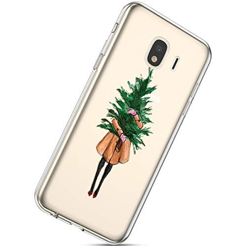 Handytasche Samsung Galaxy J4 2018 Weihnachten Hülle Clear Case Ultra Dünn Durchsichtige Silikon Kirstall Transparent Handy Hülle Bumper Cover Schutz Tasche Schale,Dame Weihnachtsbaum