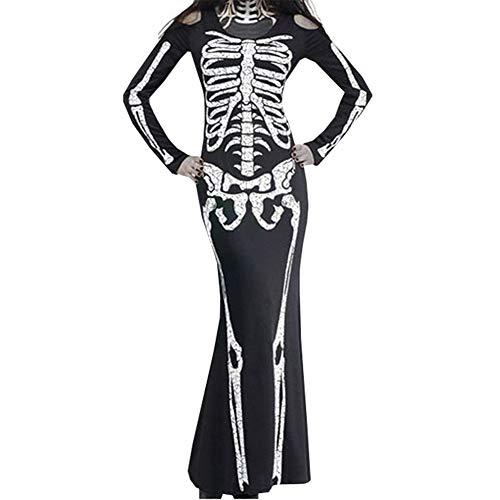 Ghost Festival Horror Skeleton Dress for Women Halloween Skull Floral Print Sexy Long Sleeve Maxi Party Dress(black1-S) ()
