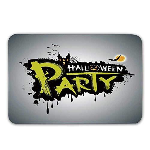 Lis home zerbino porta d'ingresso di halloween, zucche disegnate a mano di halloween design artistico zerbino di cartone animato grunge per tappetino da bagno interno o esterno