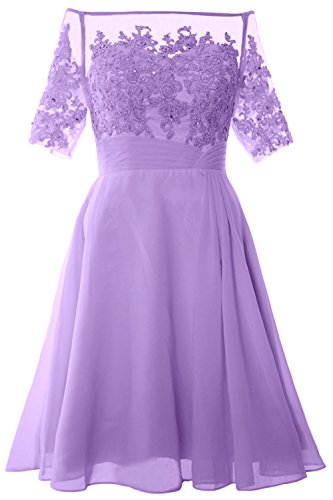 MACloth Women Off Shoulder Mother of Bride Dress with Sleeve Midi Cocktail Dress (Custom Size, Lavendel) (Bras Lavendel Womens)