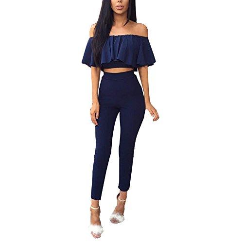 Patgoal Le donne 2Pcs spalle tuta Slim pagliaccetti aderente Top Pantaloni Suit Blu S-XL