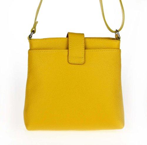 OBC ital. echt Leder Schultertasche Tasche City Bag CrossOver Umhängetasche 23x20x8 cm (BxHxT) Gelb