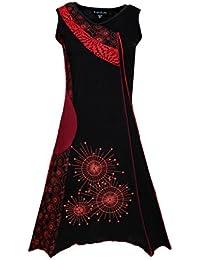 Dames sans manches en V-cou robe avec patch coloré et broderie