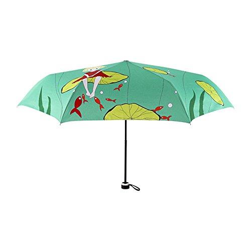 Wjcgx ombrellone pieghevole con protezione uv mini ms. ombrellone con stampa fresca di moda ombrelli da esterno