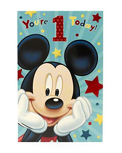 Carlton 493056-0-2,5cm Disney Mickey Mouse Alter 2,5cm Geburtstagskarte (1. Geburtstags-karte)