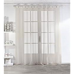 Enjoy Home 2001IV300240 Voilage Sablé Grande Largeur 300x240cm avec 8 Œillets Ivoire, Polyester, 240x240 cm