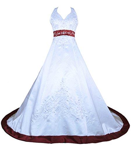 Vantexi Damen Halfter Stickerei Satin Hochzeitskleid Brautkleider Weiß Burgund 32