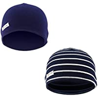 f0a40a973 Lacofia 2 piezas Sombrero de Beanie de 100% algodón para bebé niños Gorro  tejer de