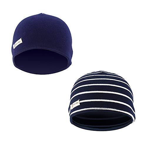 fcb2aa7f0edd17 LACOFIA 2 Pack Baby Beanie Hat Kids Super Soft 100% Cotton Cap Boys Knit  Hats