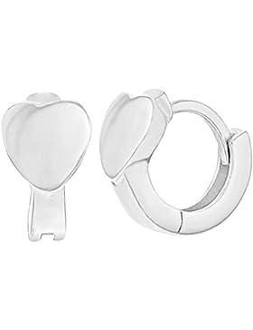 In Season Jewelry Mädchen - Creolen Ohrringe Einfacher liebe kleine in der Herzform 925 Sterling Silber 8mm