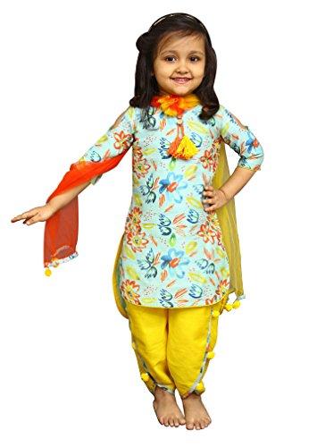White Button Girl's Banglori Silk Sky Blue Floral Print Readymade Kids Salwar Suit Dress_2-3 Years