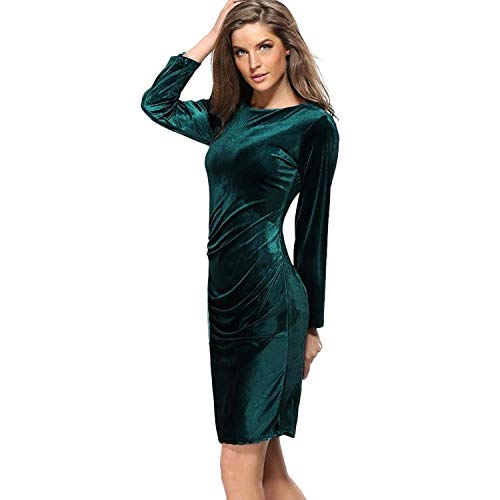 Qiusa 2017 Herbst Winter Frauen Kleid Frauen Samt Langarm Gefaltete Beiläufige Dünne Kleid Abend Sexy Party Mini Kleid (Farbe : Grün, Größe : ()