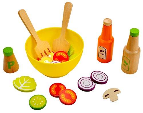 Idena 4100112 - Kleine Küchenmeister Salat - Set aus Holz und Filz, 24 teilig, circa 15 x 15 x 7 cm