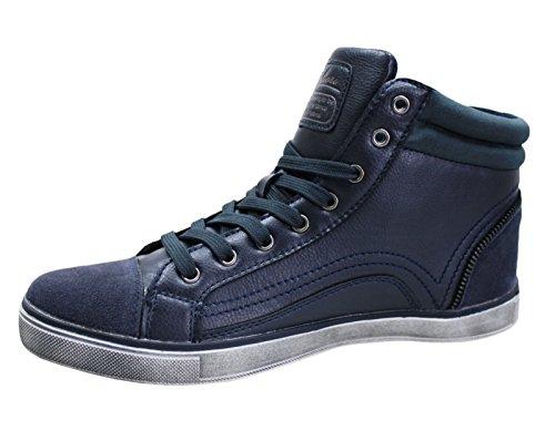 Scarpe stivaletti uomo blu casual invernali sneakers scarpa shoes (43, blu)