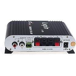 CAOQAO Car Audio Treble Bass Control Home Speaker Radio FM,HiFi CD Mp3,Bluetooth - Connexion TV Hi-FI Amplificateur StéRéO,12V 200W Hi-FI,pour Brancher Votre Lecteur MP3, MP4, IPod Ou CD,Noir